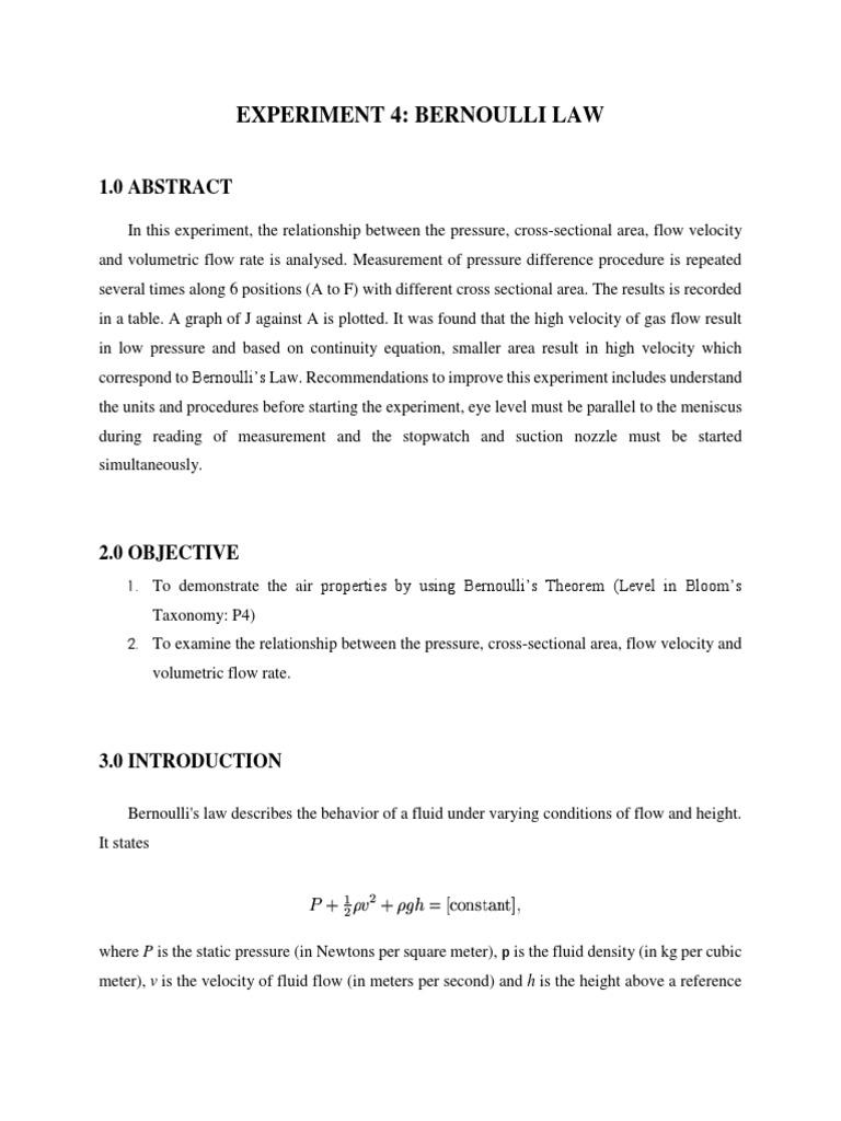 Eng Science Bernoulli Law   Pressure   Fluid Dynamics