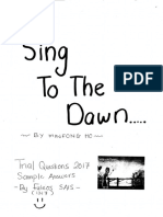 Sing to the Dawn sample answers