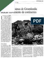 ROCAS ANTIQUISIMAS DE GREOLANDIA INDICAN MOVIMIENTOS DE CONTINENTES