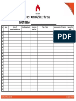 18. Monthly First Aid Log Sheet