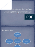 Transesterification of Rubber Seed Oil Using Homogeneous Catalyst