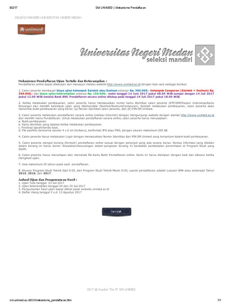 Sm Unimed Mekanisme Pendaftaran