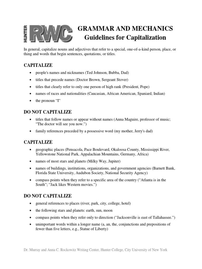 Guidlines for Capitalization pdf | Morphology | Semiotics
