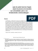 A Estruturação Do Poder Local Em Angola e a Contribuição Do Processo Do Encontro Das Comunidades Para o Seu Fortalecimento e Democratizaçõ