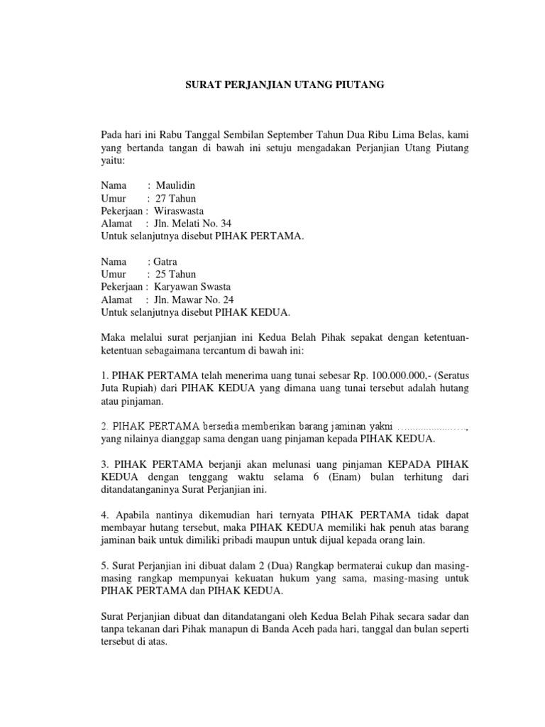 Surat Perjanjian Utang Piutangdocx