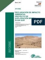 DECLARACIÓN DE IMPACTO AMBIENTAL PROYECTO DE EXPLORACIÓN MINERA ELISA SUR