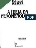 HUSSERL, Edmund. a Idéia Da Fenomenologia