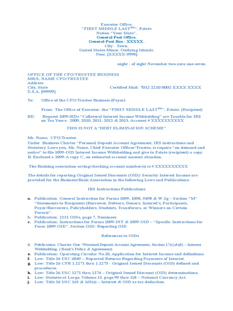Request Sample Ltr2cfotrustee For Oids 112017 Withholding Tax
