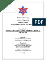 Final Report. Design of bridge over kerunga khola(T+steel truss)