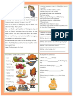 Thanksgiving Day Reading Comprehension Exercises