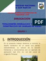DISEÑO HIDRAULICO Y PROCESO CONSTRUCTIVO DE CANALES DE RIEGO