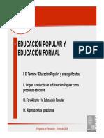 Educación popular y Educación Formal