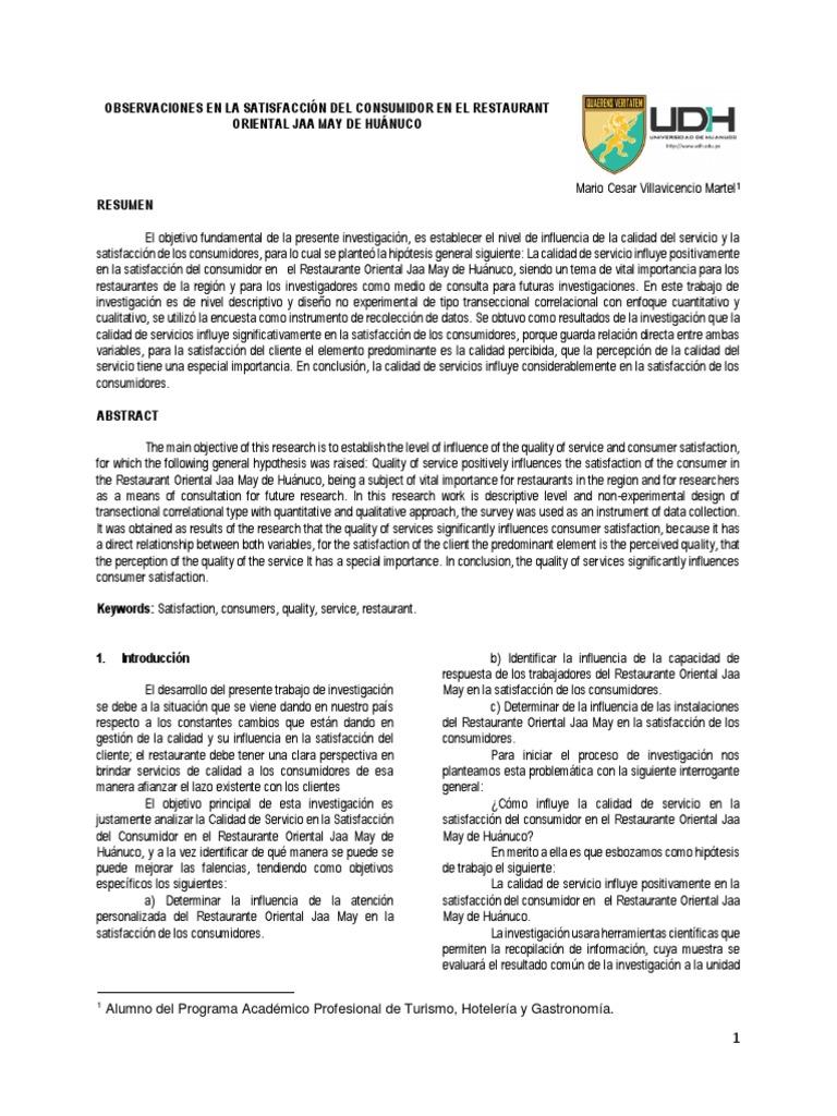 OBSERVACIONES EN LA SATISFACCIÓN DEL CONSUMIDOR EN EL RESTAURANT ...