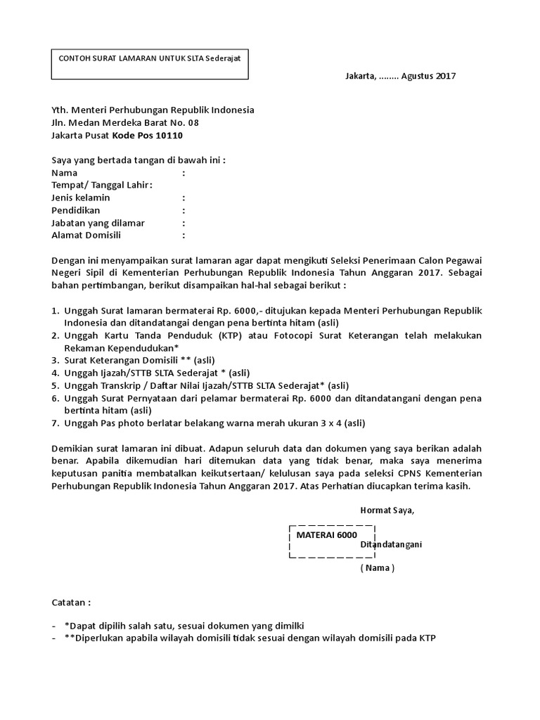 Format Surat Lamaran Slta
