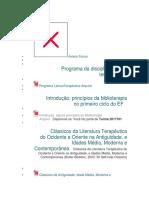 Programa da disciplina Leitura terapêuticaPrograma da disciplina Leitura terapêutica