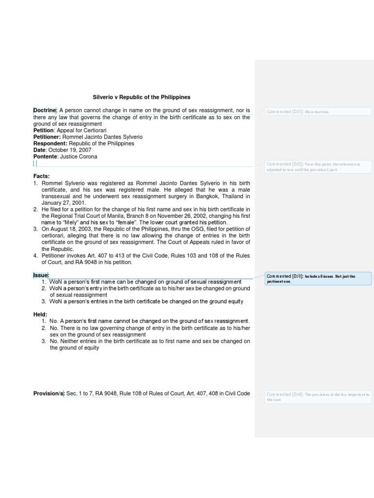 Silverio v republic of the philippines birth certificate silverio v republic of the philippines birth certificate equity law aiddatafo Image collections
