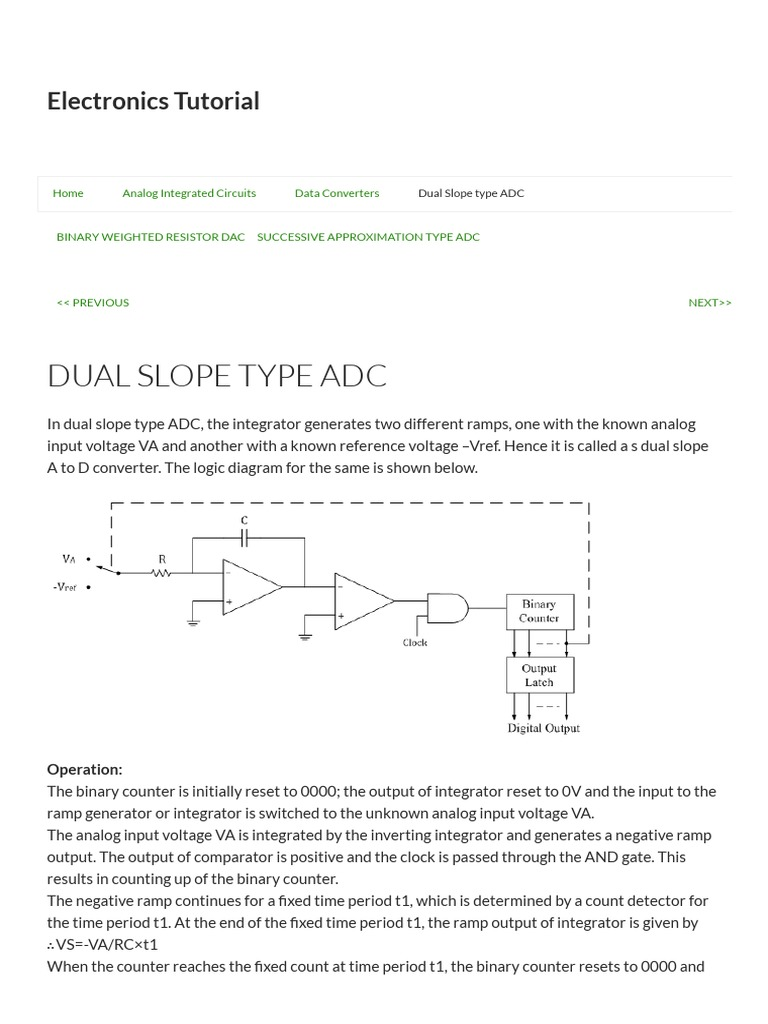 Dual Slope Adc Analog To Digital Converter Electrical Circuits Resistors In Series Electronics Tutorials