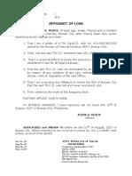 Affidavit of Loss- TIN ID. Resus