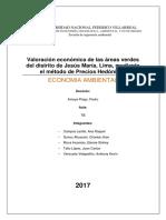 VALORIZACIÓN ECONÓMICA DE AREAS VERDES URBANAS DEL DISTRITO DE JESÚS MARÍA - LIMA -PERÚ