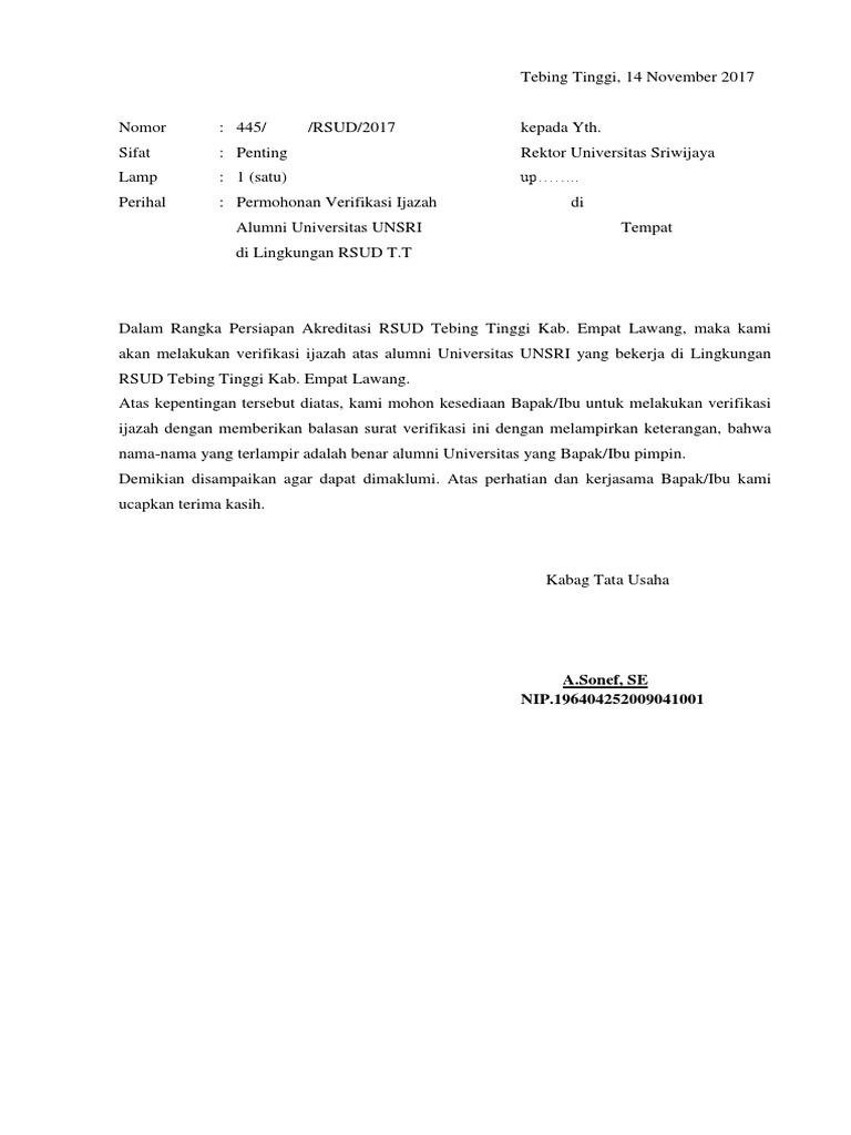 Surat Permohonan Verifikasi Ijazah