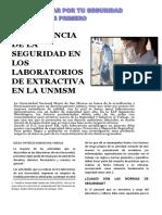 Importancia de La Seguridad en Los Laboratorios de Extractiva en La Unmsm