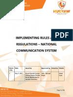 NFJPIA1718 National Communication System IRR