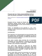 Proyecto de Ley que sanciona a administradores de sitios web por comentarios de lectores y usuarios