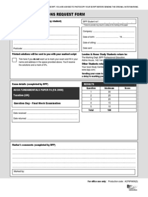 f6 Mock Exam   United Kingdom Corporation Tax   Value Added Tax
