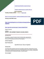 Packing Credit RBI Circular