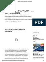 Aplicação Financeira CDI Protheus - User Function
