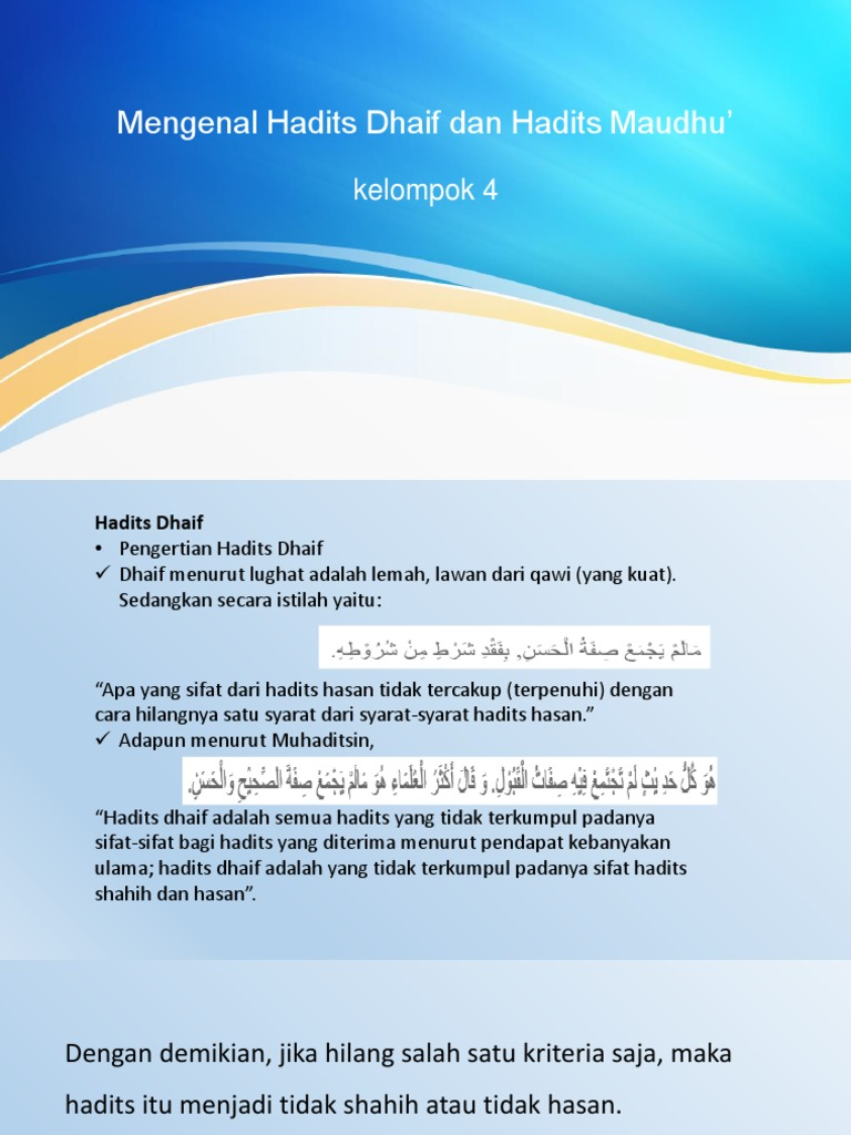 Mengenal Hadits Dhaif Dan Hadits Maudhu Ori