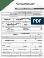 Formato Registro de Proveedores Agosto de 2013