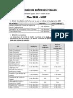 Calendario de Exámenes Finales Ago 2017-Ene 2018