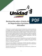 Declaración Sobre El Inicio Del Proceso de Negociacion El Proximo 1ro de Diciembre