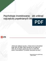 Psychologia Inwestowania - Jak Uniknąć Najczęściej Popełnianych Błędów