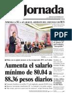 Portada de La Jornada 22 de noveimbre de 2017