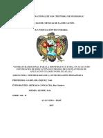 """El Grado de Fortalecimiento de La Identidad Cultural Con La Literatura Regional en Los Alumnos Del 4to """"B"""" de Los Planteles de Aplicación Guamán Poma de Ayala, Ayacucho-2017"""