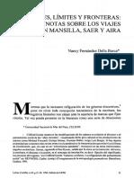 Nancy Fernández, Sobre Viajes en Mansilla, Aira, Saer