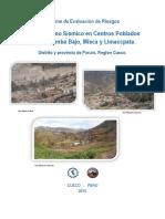 Evaluación de Riesgos Por Fenómeno Sísmico en Cusibamba Bajo, Misca y Limaccpata, Distrito y Provincia de Paruro, Cusco