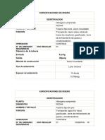 Especificaciones de Diseño