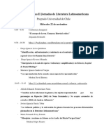 Programa de Las II Jornadas de Literatura Latinoamericana