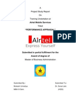 Copy of M.B.a. SUMMER TRAINING PROJECT of Mukesh Urmaliya on Performance Apprisal of Airtel