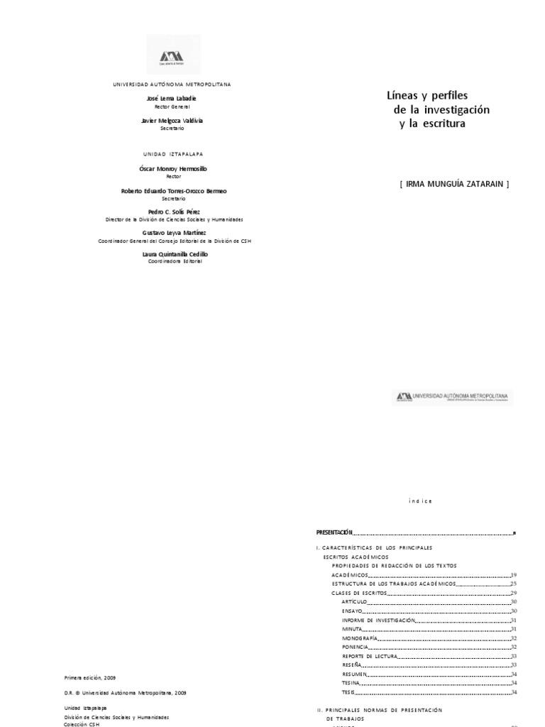 Lineas y Perfiles de la Investigación y la Escritura - Irma Munguía ...