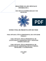 Estructura de Presentación de Tesis Upci -2017