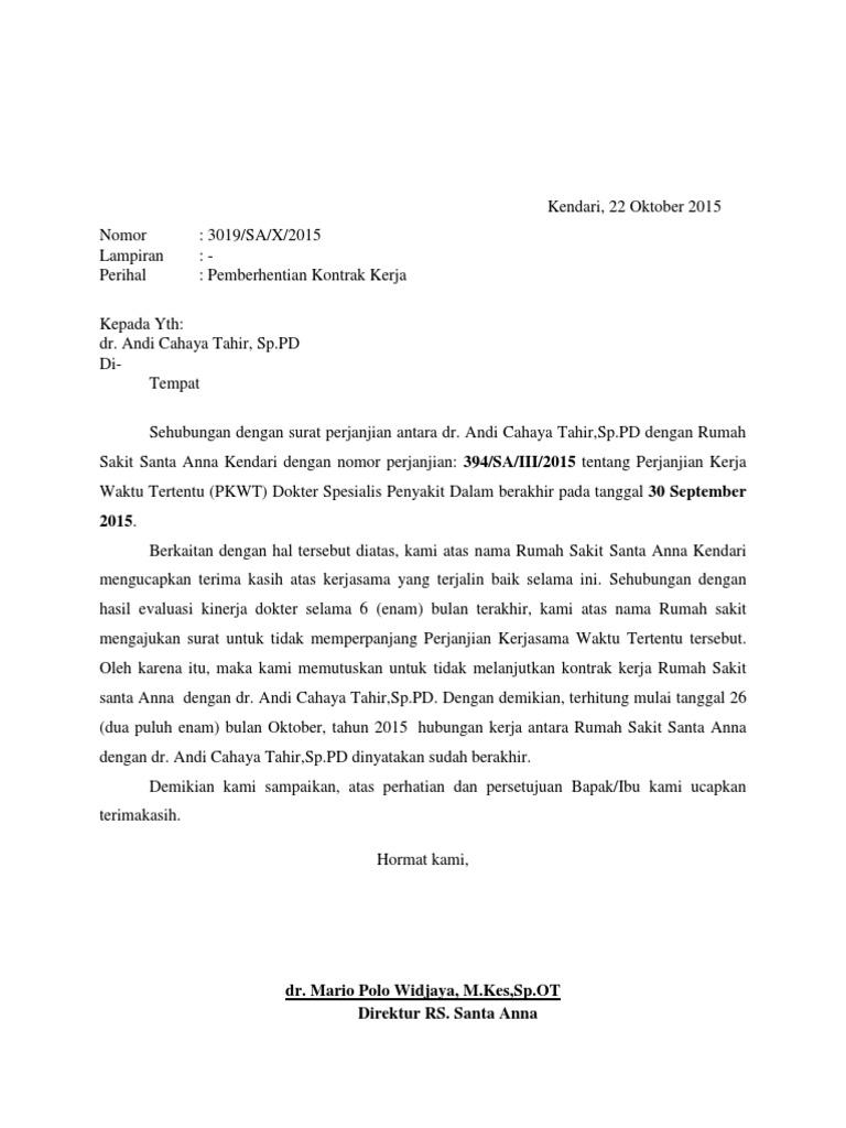 Contoh Surat Pemberhentian Kontrak Kerjasama