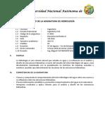 Estructura de Silabus - Hidrología