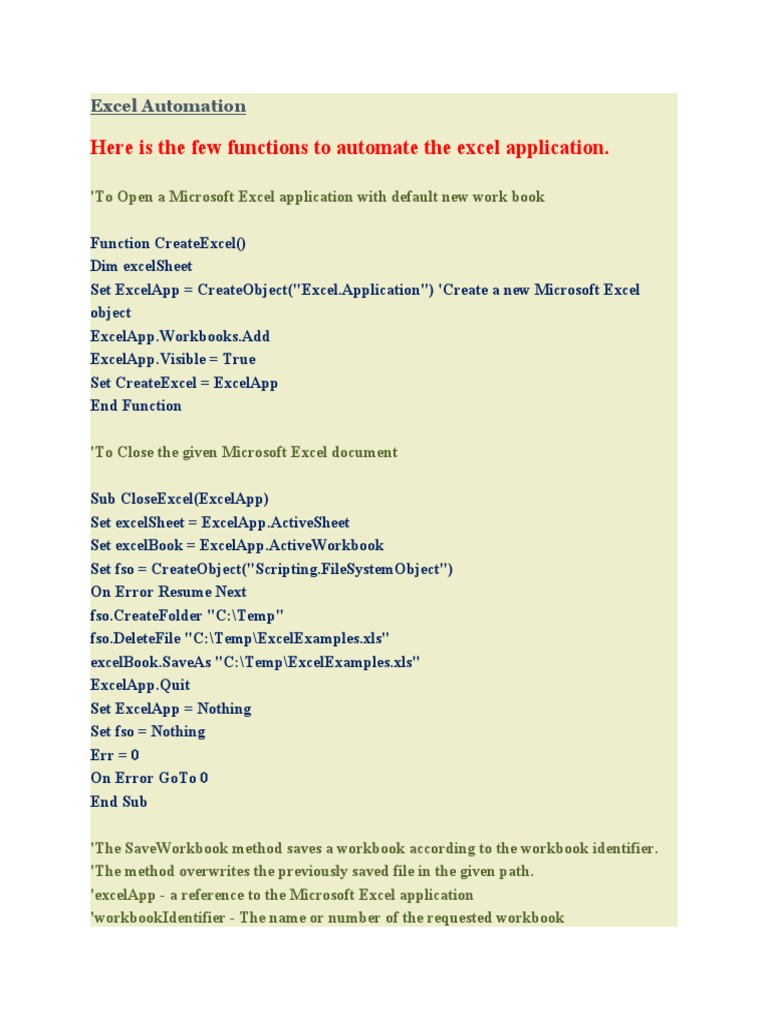 Excel Automation Worksheet Microsoft Excel