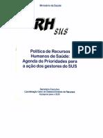 MS_CGDRH_Política de RHS_Agenda de prioridades para a ação dos gestores do SUS