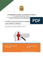 TÉCNICAS DE SELECCIÓN DE CANDIDATOS   EN UNA EMPRESA MINERA