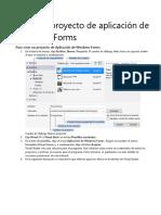 Crear Un Proyecto de Aplicación de Windows Forms